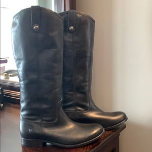 Frye Melissa Button Black Leather Boot Size 10